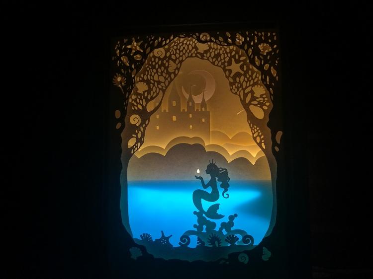 美人鱼的眼泪,光影纸雕专用材料包diy小夜灯箱创意女生生日礼物